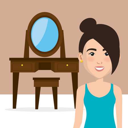 Young woman with dressing table character scene vector illustration design Stockfoto - 101001176