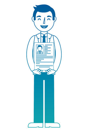 man character holding her resume for work vector illustration neon design