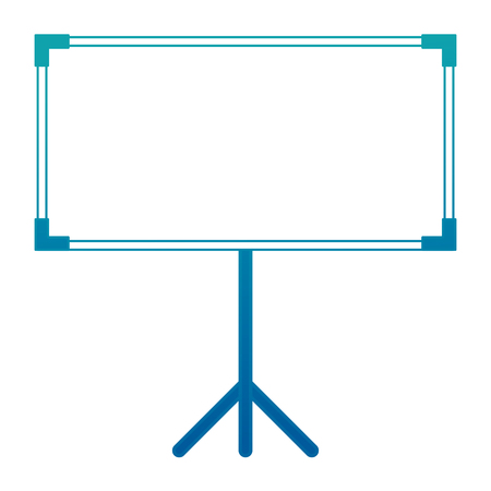 blank projector screen with tripod vector illustration neon design Ilustracja
