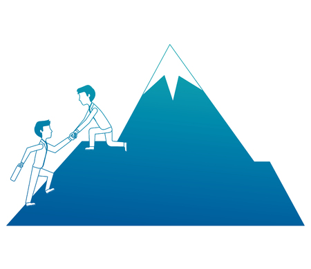 business man on mountain helping colleague or friend climbing leadership teamwork vector illustration neon design Illustration