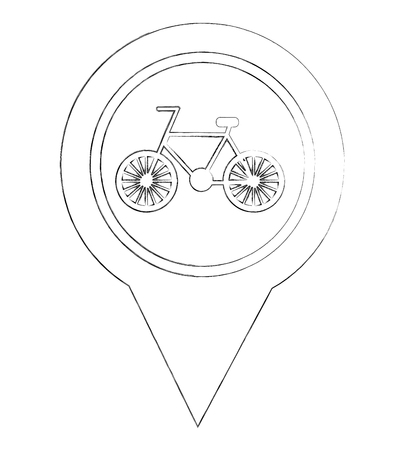 bicycle route pointer gps navigation location image vector illustration sketch