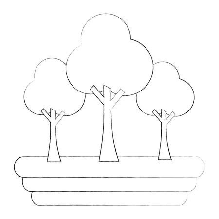trees forest botanical natural image vector illustration sketch