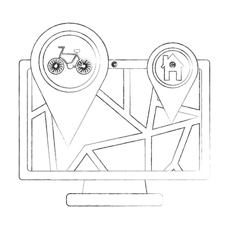 computer with map gps navigation bike route and home pointers vector illustration sketch Illustration
