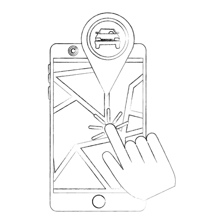 hand clicking pointer map car location vector illustration sketch Stock Illustratie