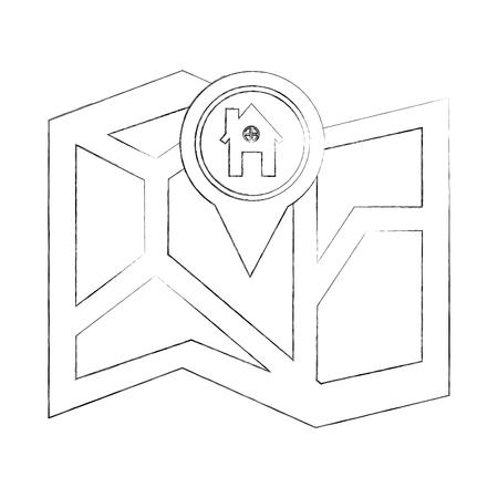folded gps map navigation home pin vector illustration sketch