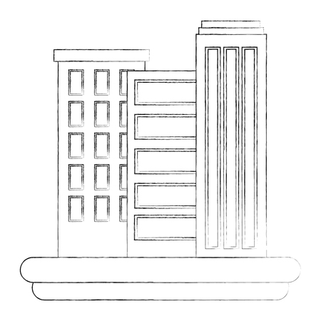 city urban buildings architecture image vector illustration sketch