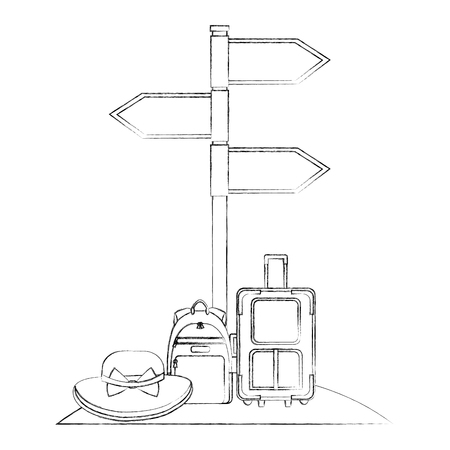 arrows in stand location travel suitcase backpack and hat vector illustration sketch