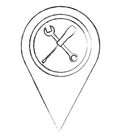 pointer map tools mechanic support vector illustration sketch Illustration