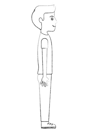young man standing casual clothes side view vector illustration sketch