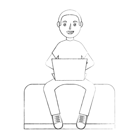 happy guy sit in sofa with laptop device vector illustration sketch