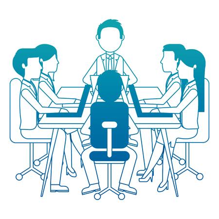meeting business people teamwork office working sitting conference table vector illustration neon design Ilustração