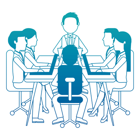 meeting business people teamwork office working sitting conference table vector illustration neon design Illustration