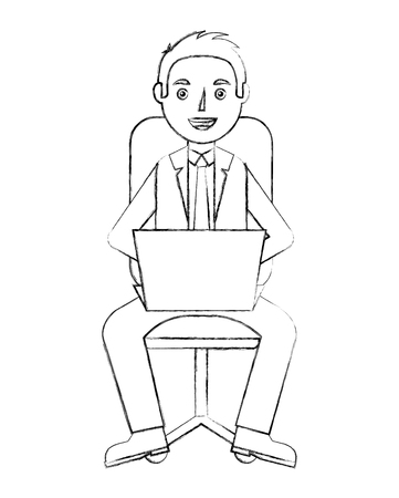 businessman with laptop sit in office chair vector illustration sketch