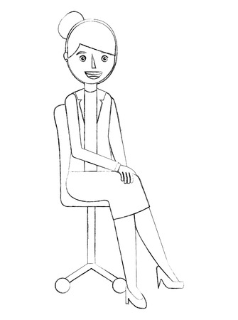 woman sitting in the office chair vector illustration sketch