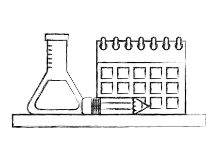 school calendar test tube and pencil vector illustration sketch