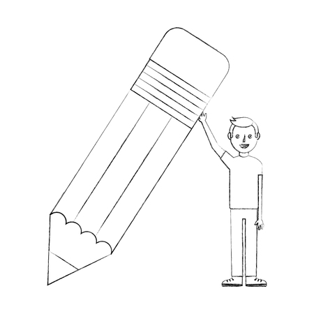 young man holds big wooden pencil school vector illustration sketch