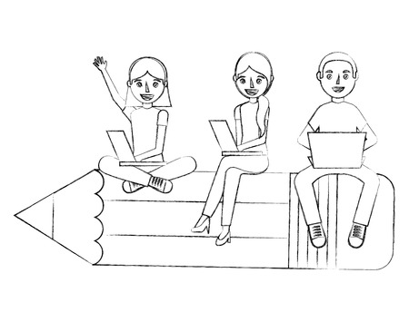 group students sit on school pencil with her laptops vector illustration sketch