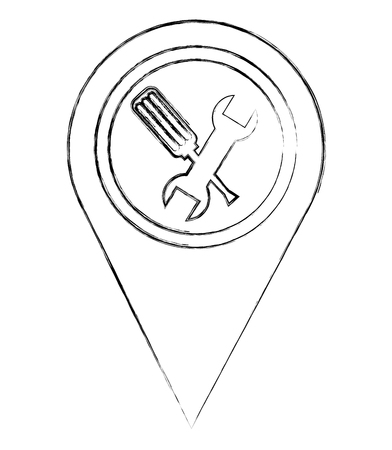 map pointer navigation with mechanic support tools vector illustration sketch Illustration