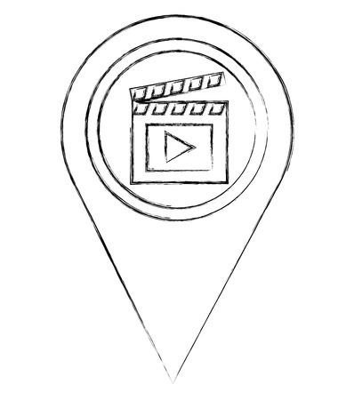 map pointer navigation with film clapperboard vector illustration sketch