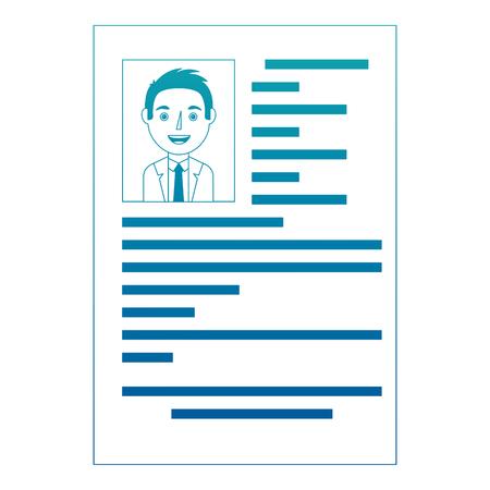 male resume document employment occupation vector illustration neon design Illustration