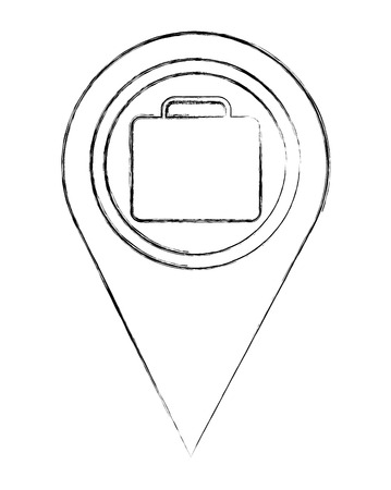 map pointer navigation with business briefcase vector illustration sketch Illustration