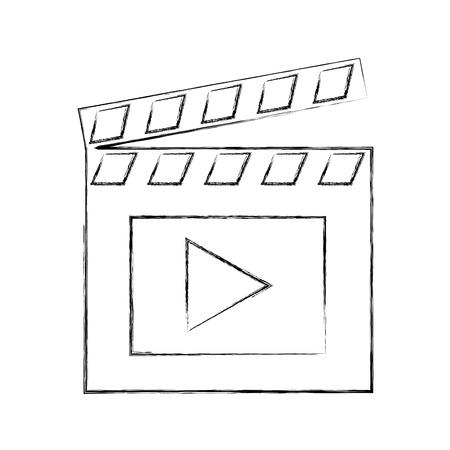 film movie clapper board image vector illustration sketch Illustration