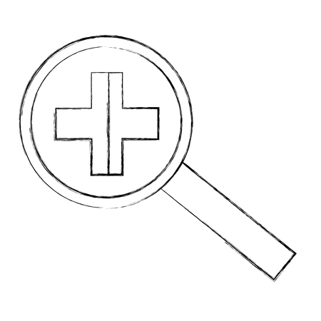 magnifying glass zoom search find vector illustration sketch