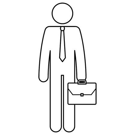 businessman figure with portfolio silhouette avatar vector illustration design