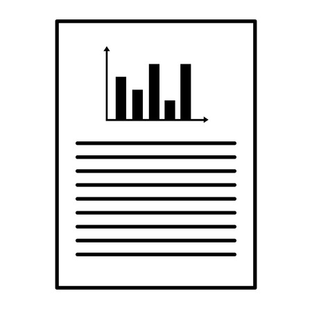 document paper with statistics vector illustration design