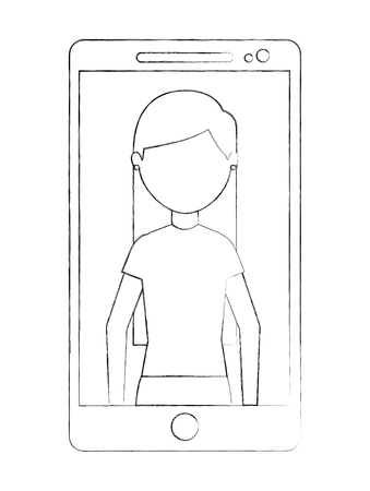 smartphone with teacher woman on screen vector illustration sketch