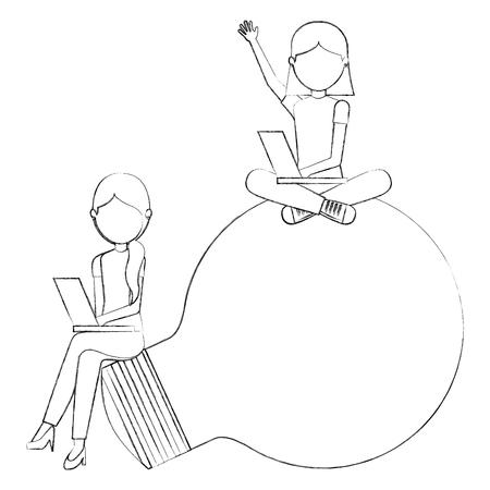 young girls sit on big bulb light idea study vector illustration sketch Illustration
