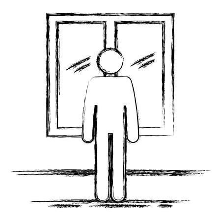 figure human in the windows silhouette avatar vector illustration design