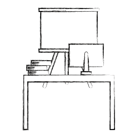 office workplace with computer and paperboard vector illustration design  イラスト・ベクター素材