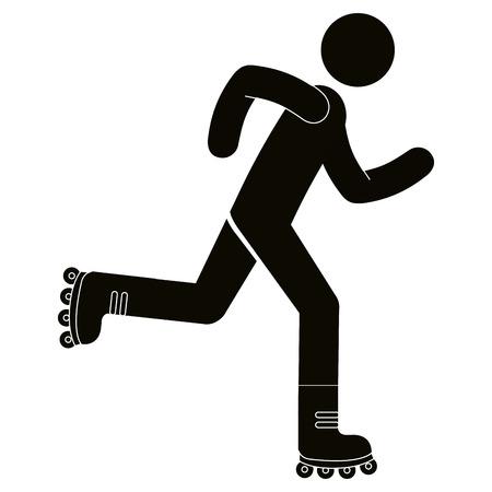 Figure humaine dans patins silhouette avatar illustration vectorielle conception Banque d'images - 101031999