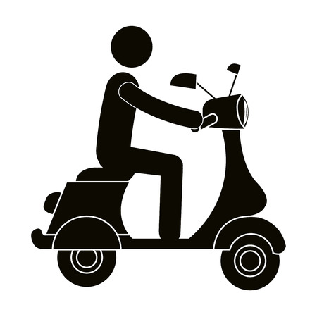 Scooter motorcycle with driver silhouette vector illustration design Illustration