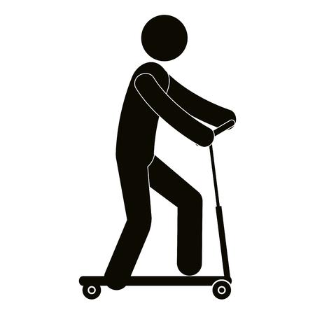 Figure human in skateboard silhouette avatar vector illustration design Ilustração