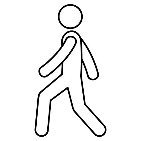Figure human walking silhouette avatar vector illustration design