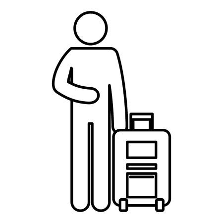 Figure human traveler with suitcase silhouette avatar vector illustration design