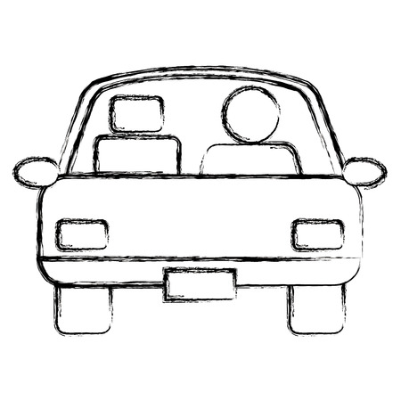 car sedan with driver vehicle icon vector illustration design