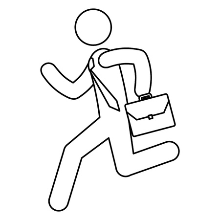figure human running with portfolio silhouette avatar vector illustration design