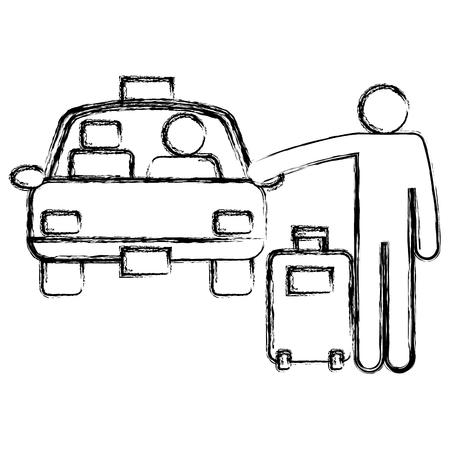 Een reiziger die met koffer een ontwerp van de taxi vectorillustratie tegenhoudt Vector Illustratie