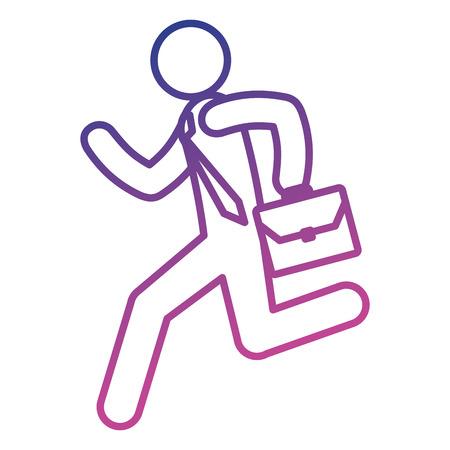 A figure human running with portfolio silhouette avatar vector illustration design