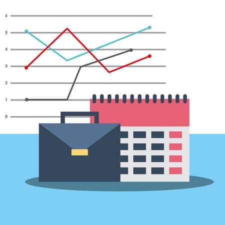 Briefcase calendar business office equipment vector illustration