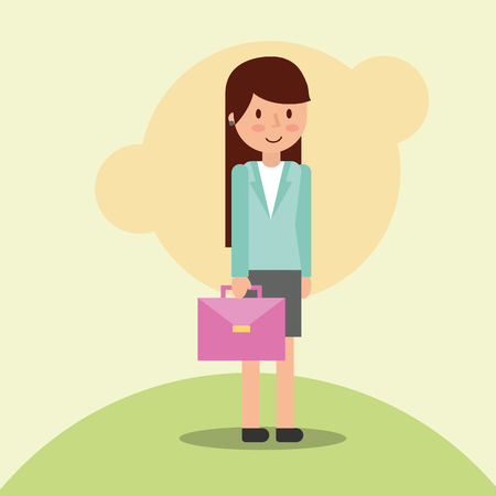 Businesswoman female character holds suitcase vector illustration
