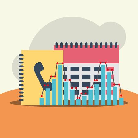 Phone contacts list calendar business office equipment vector illustration