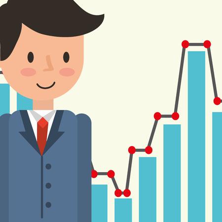 Businessman portrait cartoon statistic diagram vector illustration Illustration