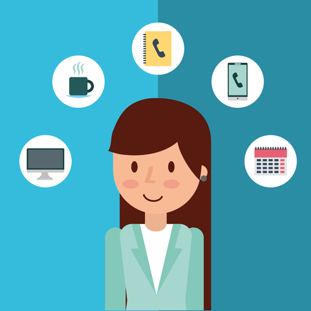 Cartoon businesswoman office work business icons vector illustration Illustration