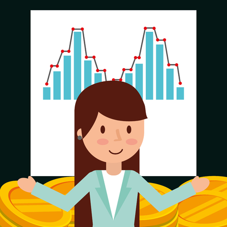 businesswoman financial chart diagram money coins vector illustration Ilustracja