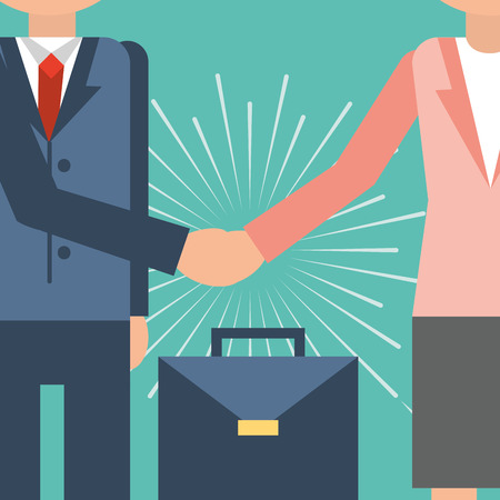 Business people teamwork handshake image vector illustration