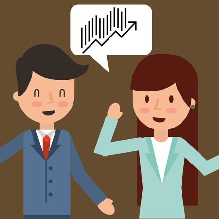 businessman and businesswoman talking financial chart vector illustration